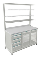 Mobile metal medical supply cabinet with solid and wire mesh she