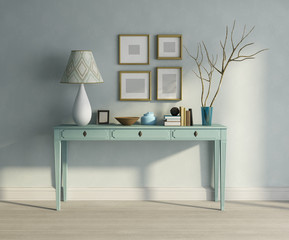 Blue turqoise console table interior