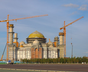 construction work on a new mosque in Astana. Kazakhstan.