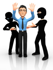 3D thieves mugging a man