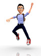 Happy 3D student jumping