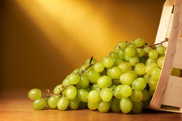 Green grapes in the basket