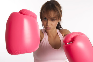 Healthy woman in boxing training session