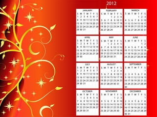 full editable 2012 vector calendar on christmas theme
