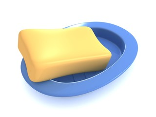soap with blue soap dish