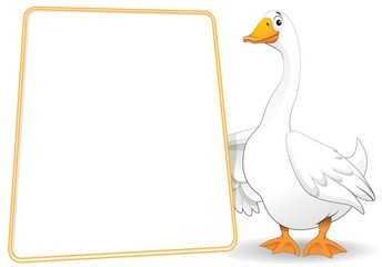 Oca Papero Fumetto Cartello-Goose Duck Cartoon Background