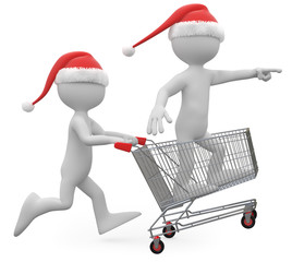 Man with Santa hat pushing a shopping cart with a man inside
