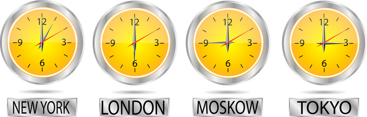 Clock showing the time in New York, Moscow, London and Tokyo