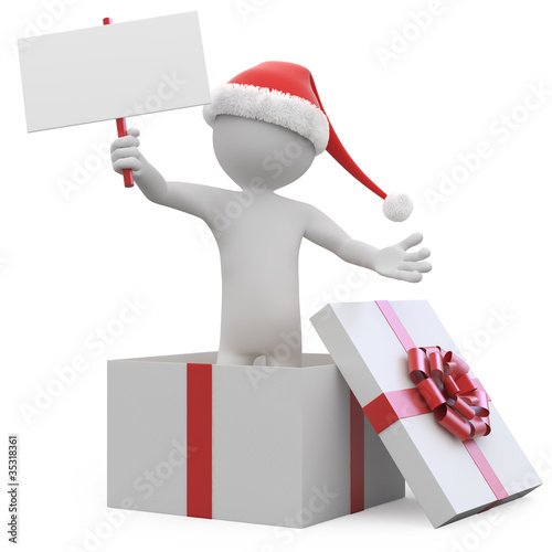 Man with Santa hat and a blank card leaving a gift box