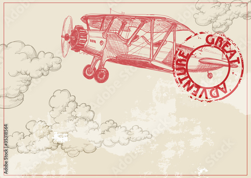 Vintage paper background with plane and clouds - 35318564