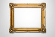 Grunge gold wooden frame on the wall with clipping path