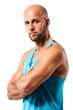attraktiver sportlicher Mann vor weißem Hintergrund