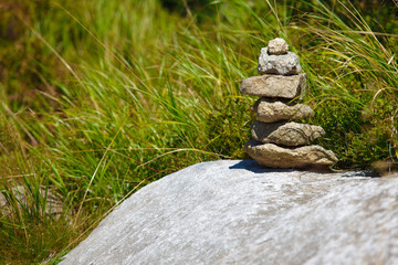 Small stone Zen tower on the rock