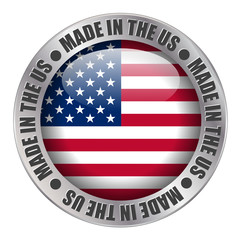 """MADE IN THE US"" label (stamp badge American buy)"