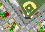 baseball field on the outskirts of poster