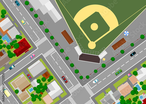 Foto op Plexiglas Op straat baseball field on the outskirts of