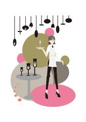 CAFE,restaurant, waiter,waitless カフェと店員
