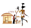 Cafe with a beautiful waitress and a musician