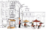 Fototapety Series of street cafe in sketches