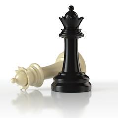 Schachfiguren - schwarze und weiße Damen