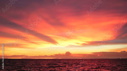 Amazing Sunset Sky over Ocean