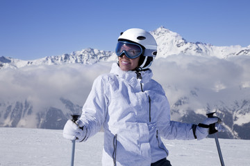Portrait of young girl skier