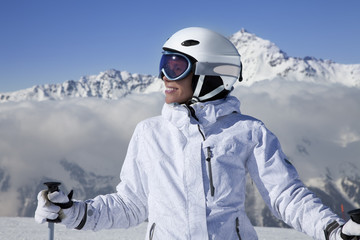 Portrait of girl skier