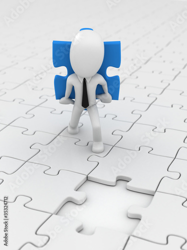 3D Render of a business man carrying a puzzle pice