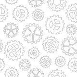 Seamless pattern with many different sketchy gear wheels poster