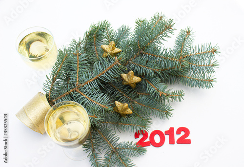 Happy New Year 2012 with champagne