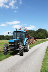 Farm Road And Tractor Summer vertical