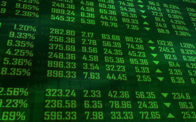 Green stock market ticker