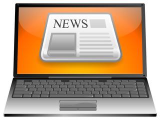 Laptop mit Zeitung