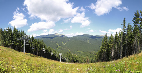 Panoramic view of track of Bukovel ski resort in summer, Ukraine