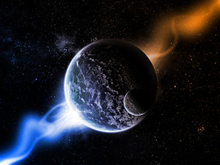 Planets in space and nebula