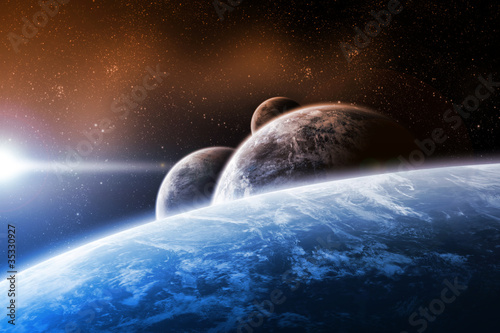 Space design with planets and sunrise