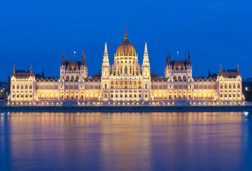 hungarian parliament at dusk
