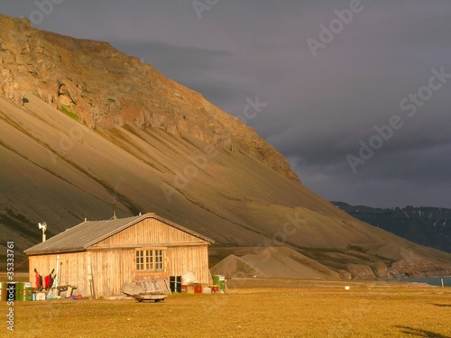 old wooden hut on Svalbard