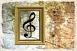 Texture - muro vecchio, cornice e chiave di violino