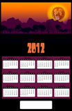 2012 African Lion Head Sunset Calendar