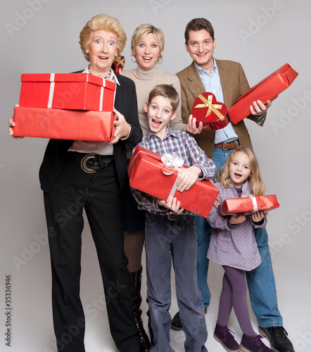 Family with presents