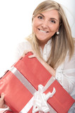 Thrilled cute blonde with present close-up poster