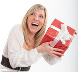 Thrilled pretty blond with present