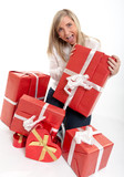 Thrilled woman receiving gifts poster