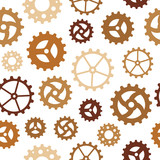 Seamless pattern with many rusty sketchy gear wheels poster