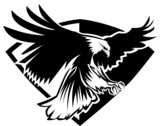 Eagle Mascot Flying Wings Badge Design