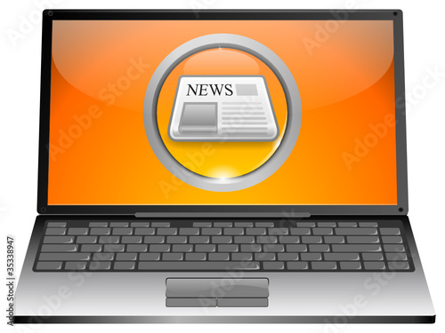 Laptop mit News Button