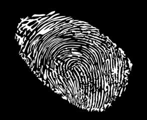 white finger print isolated on black