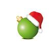 Grüne Weihnachtskugel mit Weihnachtsmütze