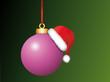 Pinke Weihnachtskugel mit Weihnachtsmütze